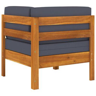 vidaXL Set mobilier grădină perne gri închis, 2 piese, lemn acacia