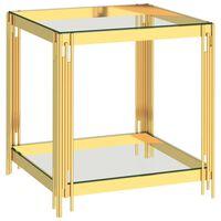 vidaXL Masă de cafea, auriu, 55x55x55 cm, oțel inoxidabil & sticlă