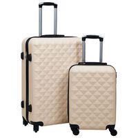 vidaXL Set de valize cu carcasă rigidă, 2 piese, auriu, ABS