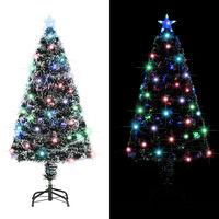 vidaXL Brad artificial de Crăciun cu suport / LED 120 cm fibră optică