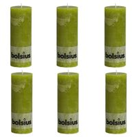 Bolsius Lumânări bloc rustice, 6 buc., verde mușchi, 190 x 68 mm