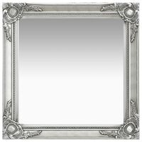 vidaXL Oglindă de perete în stil baroc, argintiu, 60 x 60 cm