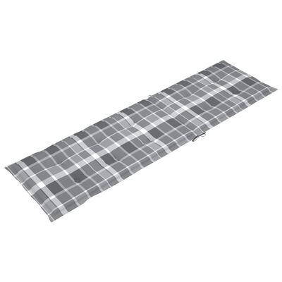 vidaXL Pernă de șezlong, gri carouri (75+105) x 50 x 4 cm