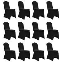 vidaXL Huse elastice pentru scaun, 12 buc., negru