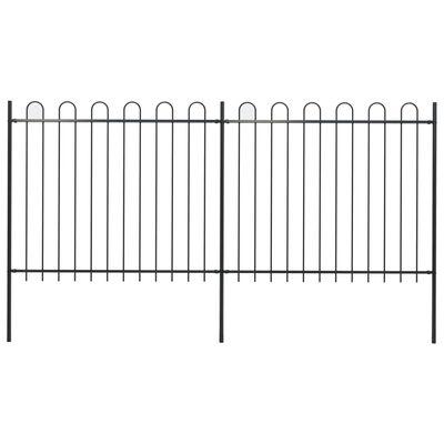vidaXL Gard de grădină cu vârf curbat, negru, 3,4 x 1,5 m, oțel