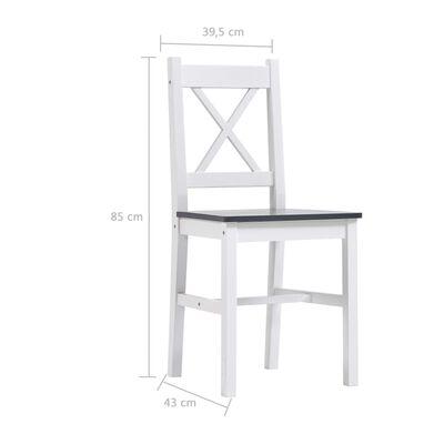 vidaXL Set mobilier de bucătărie, 9 piese, alb și gri, lemn de pin
