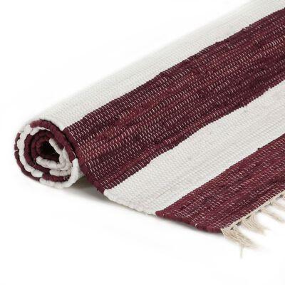 vidaXL Covor Chindi țesut manual, vișiniu și alb, 80x160 cm, bumbac