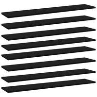 vidaXL Plăci pentru bibliotecă, 8 buc., negru, 100 x 20 x 1,5 cm, PAL