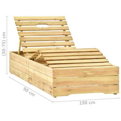 vidaXL Șezlong de grădină cu masă și pernă, lemn de pin tratat