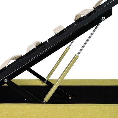 vidaXL Cadru pat hidraulic ladă & LED, galben lime, 90x200 cm, textil