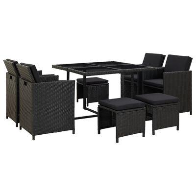 vidaXL Set mobilier de exterior cu perne, 9 piese, negru, poliratan