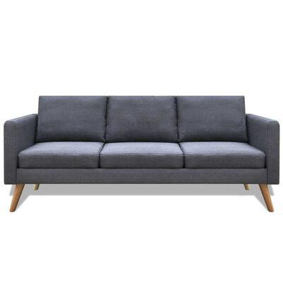 vidaXL Canapea cu 3 locuri, material textil, gri închis