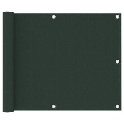 vidaXL Paravan de balcon, verde închis, 75x300 cm, țesătură oxford