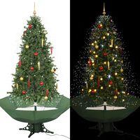 vidaXL Brad de Crăciun cu ninsoare și bază umbrelă, verde, 190 cm