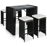 vidaXL Set mobilier de exterior, 5 piese, poliratan și sticlă