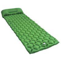 vidaXL Saltea gonflabilă cu pernă, verde, 58 x 190 cm