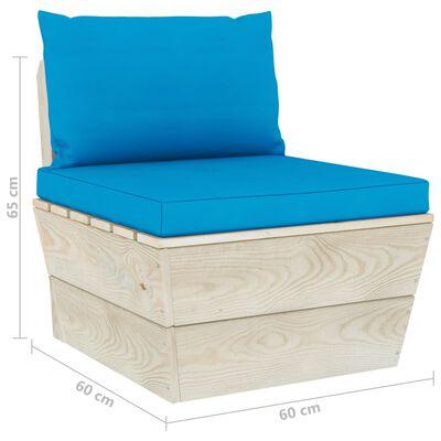 vidaXL Canapea grădină din paleți, 4 locuri, cu perne, lemn de molid