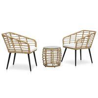 vidaXL Set mobilier de bistro, 3 piese, stejar, poliratan