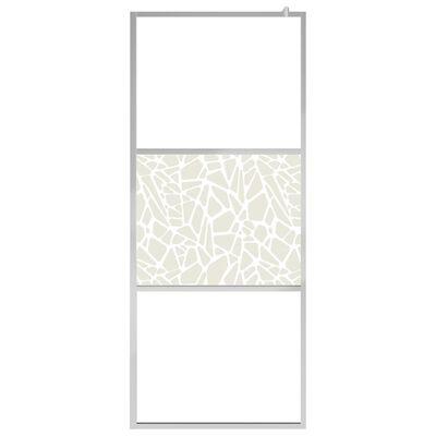 vidaXL Paravan de duș walk-in, 90 x 195 cm, sticlă ESG, model piatră