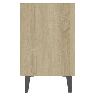vidaXL Noptiere cu picioare metal 2 buc. stejar sonoma/alb 40x30x50 cm