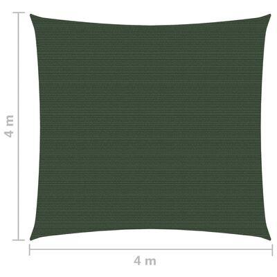 vidaXL Pânză parasolar, verde închis, 4 x 4 m, HDPE, 160 g / m²