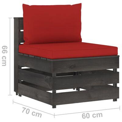 vidaXL Canapea de grădină cu 3 locuri, cu perne, gri, lemn tratat