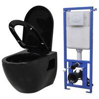 vidaXL Vas de toaletă suspendat cu rezervor încastrat, negru, ceramică