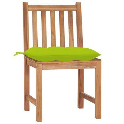 vidaXL Scaune de grădină cu pernă, 8 buc., lemn masiv de tec
