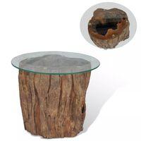 vidaXL Măsuță de cafea, lemn de tec și sticlă, 50 x 40 cm