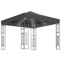 vidaXL Pavilion cu șir de lumini, antracit, 3x3 m, țesătură