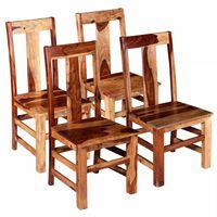 vidaXL Scaune de bucătărie 4 buc, lemn masiv de sheesham