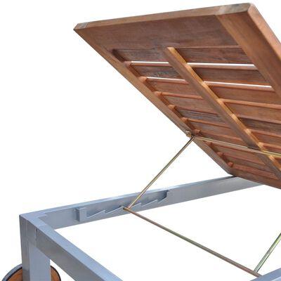 vidaXL Șezlong cu pernă, lemn masiv de acacia și oțel galvanizat