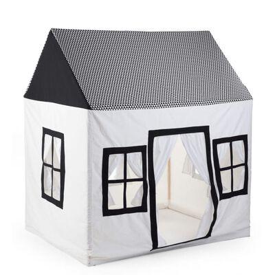 CHILDHOME Căsuță de joacă, alb și negru, 125 x 95 x 145 cm, pânză