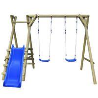 vidaXL Set leagăn cu scări și tobogan, lemn de pin, 270 x 255 x 210 cm