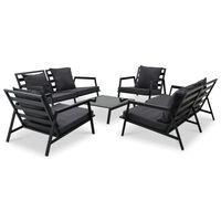 vidaXL Set mobilier de grădină cu perne, 5 piese, gri închis, aluminiu