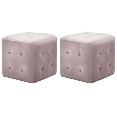 vidaXL Noptiere, 2 buc., roz, 30 x 30 x 30 cm, țesătură din catifea