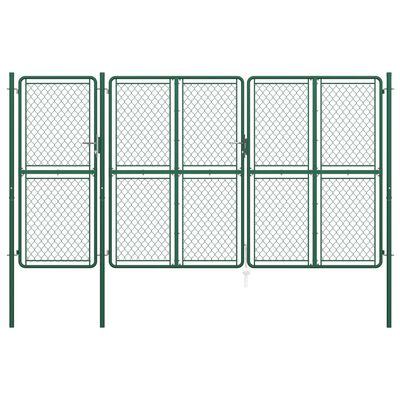 vidaXL Poartă de grădină, verde, 200 x 395 cm, oțel