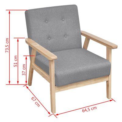 vidaXL Set cu canapea, 2 piese, material textil, gri deschis