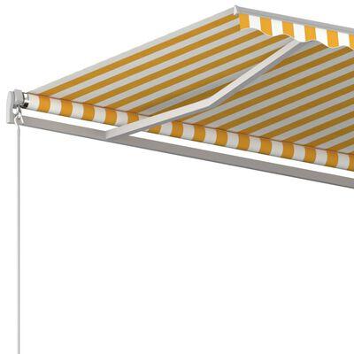 vidaXL Copertină retractabilă manual, galben și alb, 500x300 cm