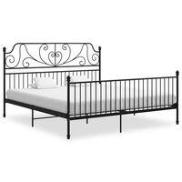 vidaXL Cadru de pat, negru, 200x200 cm, metal și placaj