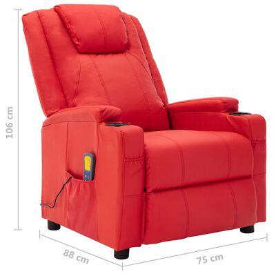 vidaXL Fotoliu de masaj rabatabil, roșu, piele ecologică