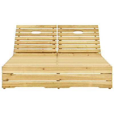 vidaXL Șezlong dublu cu perne negre, lemn de pin tratat