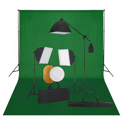 vidaXL Kit studio foto cu lumini softbox, fundal și reflector