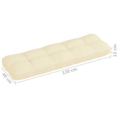 vidaXL Pernă canapea din paleți, crem, 120 x 40 x 12 cm