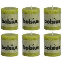 Bolsius Lumânări bloc rustice, 6 buc., verde mușchi, 80 x 68 mm