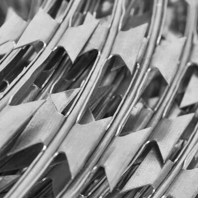 Sârmă ghimpată din oțel galvanizat cu clips-uri NATO Concertina, 60 m