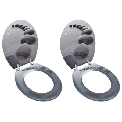 vidaXL Capace WC, 2 buc., MDF, model pietre