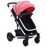 vidaXL Căruț/landou pentru copii 2-în-1, roz și negru, aluminiu