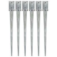 vidaXL Țăruși de sol, 6 buc., argintiu, 9x9x90 cm, oțel galvanizat