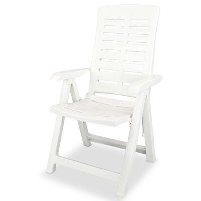 vidaXL Set mobilier de exterior, 5 piese, alb, plastic